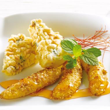 Bildmotiv für Gebratene Minibananen mit Chili-Honig  und CAMBOZOLA